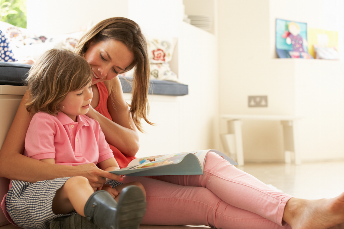 Mom and daughter reading